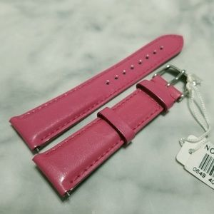 Michele Hot Pink Leather Watch Band Strap